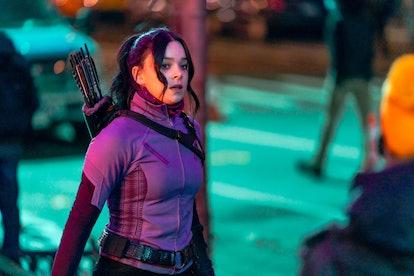 Hailee Steinfeld is seen filming a scene for 'Hawkeye' in New York.
