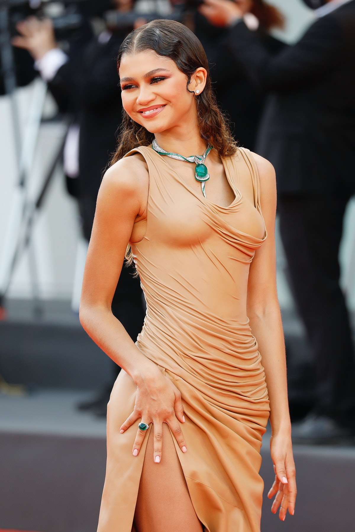 VENICE, ITALY - SEPTEMBER 03, 2021: Zendaya arrives on the red carpet for 'Dune' during the 78th Ven...