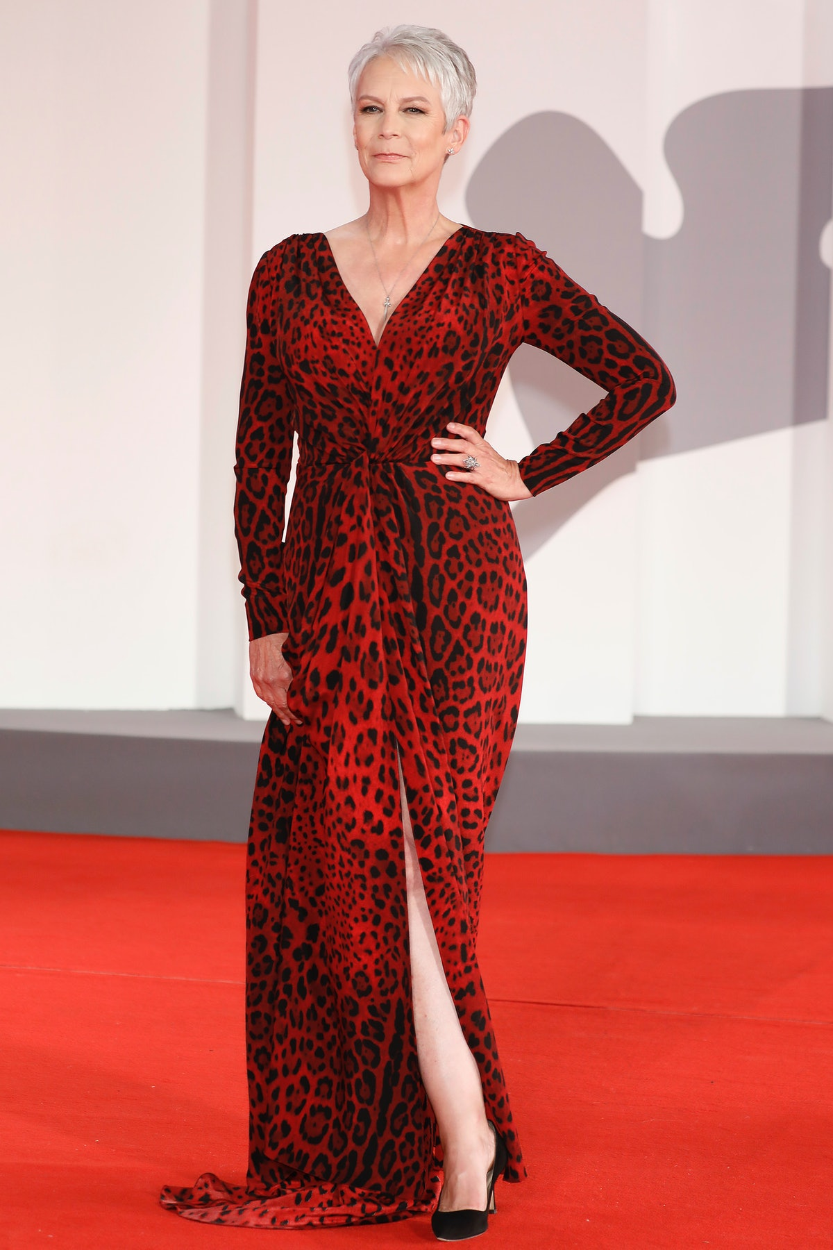VENICE, ITALY - SEPTEMBER 08, 2021: Jamie Lee Curtis arrives on the red carpet for 'Halloween Kills'...