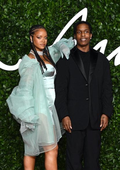LONDON, ENGLAND - DECEMBER 02: ASAP Rocky and Rihanna arrives at The Fashion Awards 2019 held at Roy...