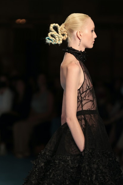 NEW YORK, NEW YORK - SEPTEMBER 07: A model walks the runway for the Christian Siriano SS2022 Fashion...