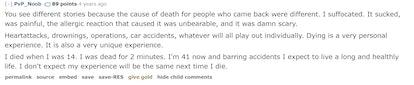 An AskReddit screenshot where a user describes what it feels like to die.
