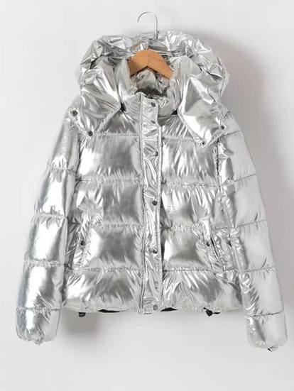 Shein Metallic Quilted Padded Coat With Hood