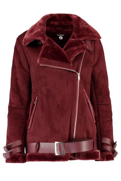 Boohoo Aimee Boutique Faux Fur Trim Aviator With Belt