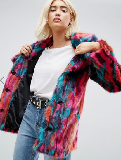ASOS Faux Fur Midi Coat in Bright Jacquard