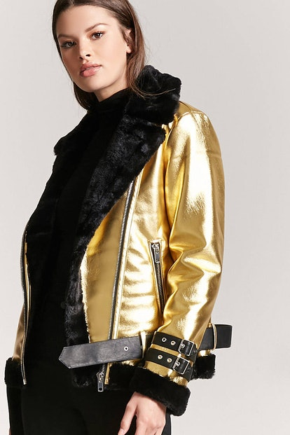 Forever 21 Faux Fur-Lined Metallic Moto Jacket