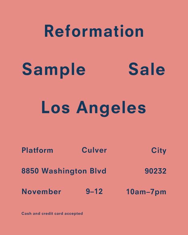 Reformation Sample Sale Culver City