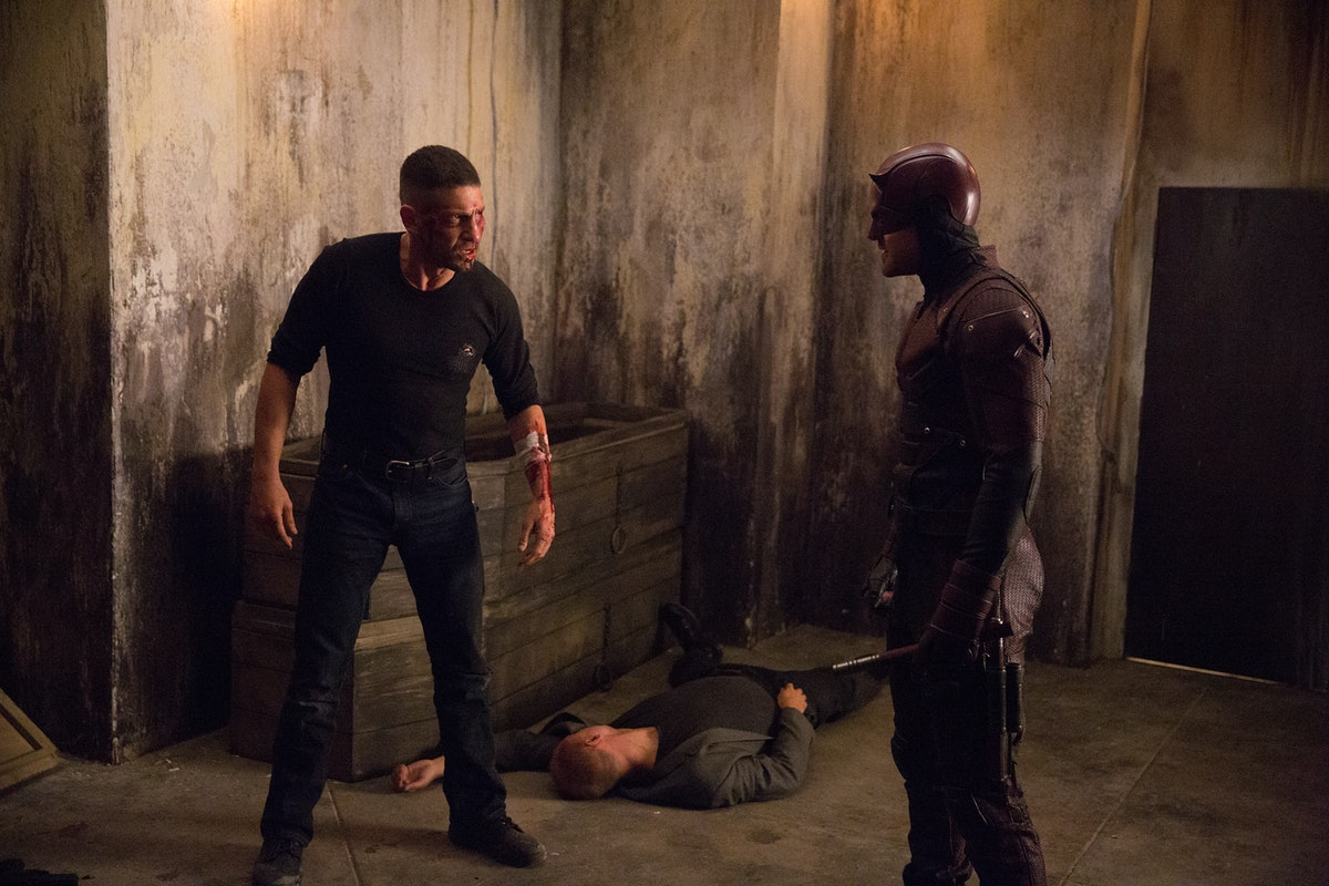 Charlie Cox as Matt Murdock / Daredevil faces off with Jon Bernthal as Frank Castle / Punisher