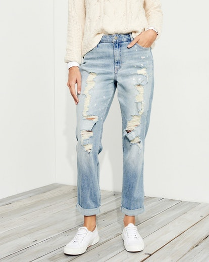Stretch Hi-Rise Crop Slim Boyfriend Jeans