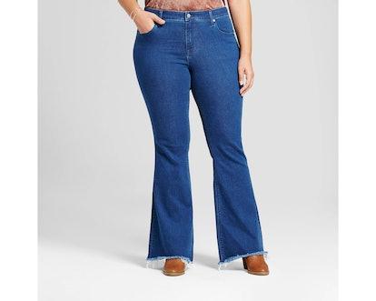 Ava & Viv Plus Size Flare Jeans with Raw Hem