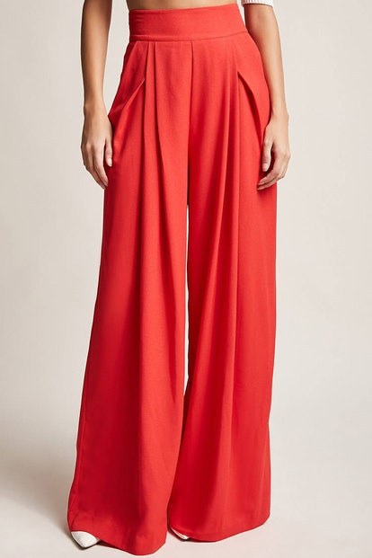 Pleated High-Rise Palazzo Pants
