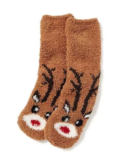 Chenille Reindeer Socks
