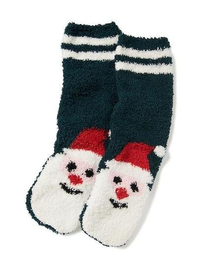 Chenille Santa Socks