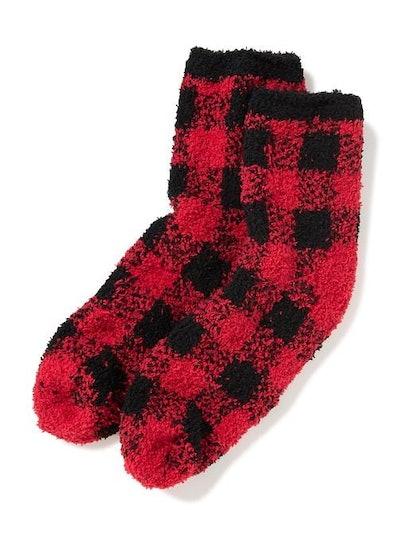 Chenille Red Buffalo Check Socks