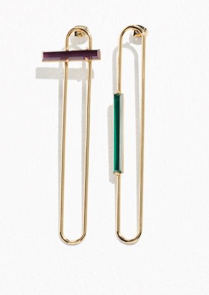 Tubular Wire Studs With Gems