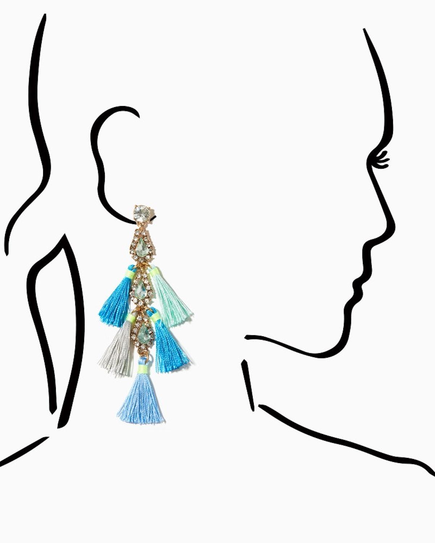 Kenza Stone Tassel Earrings in Light Turquoise