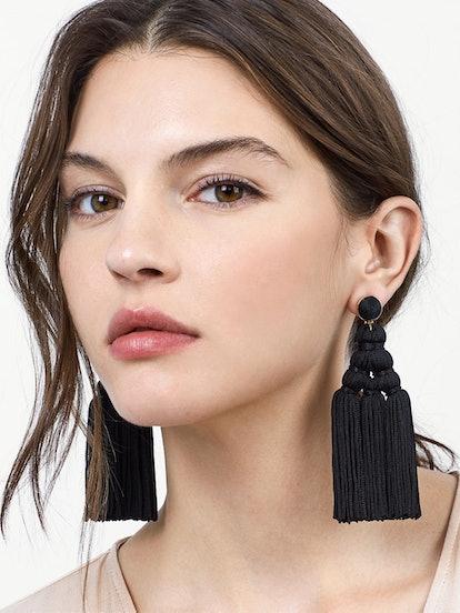 Miana Tassel Earrings in Black