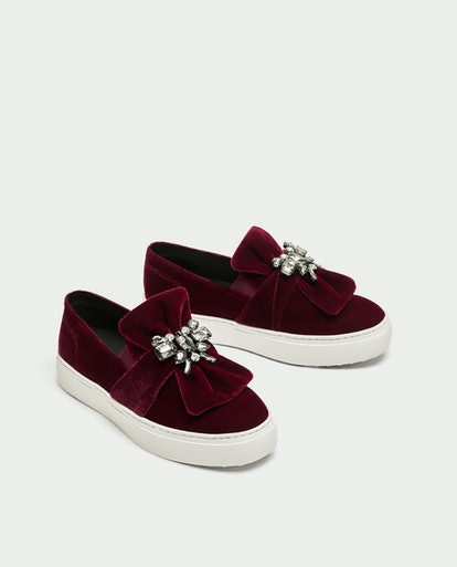 Velvet Sneakers With Beaded Bow
