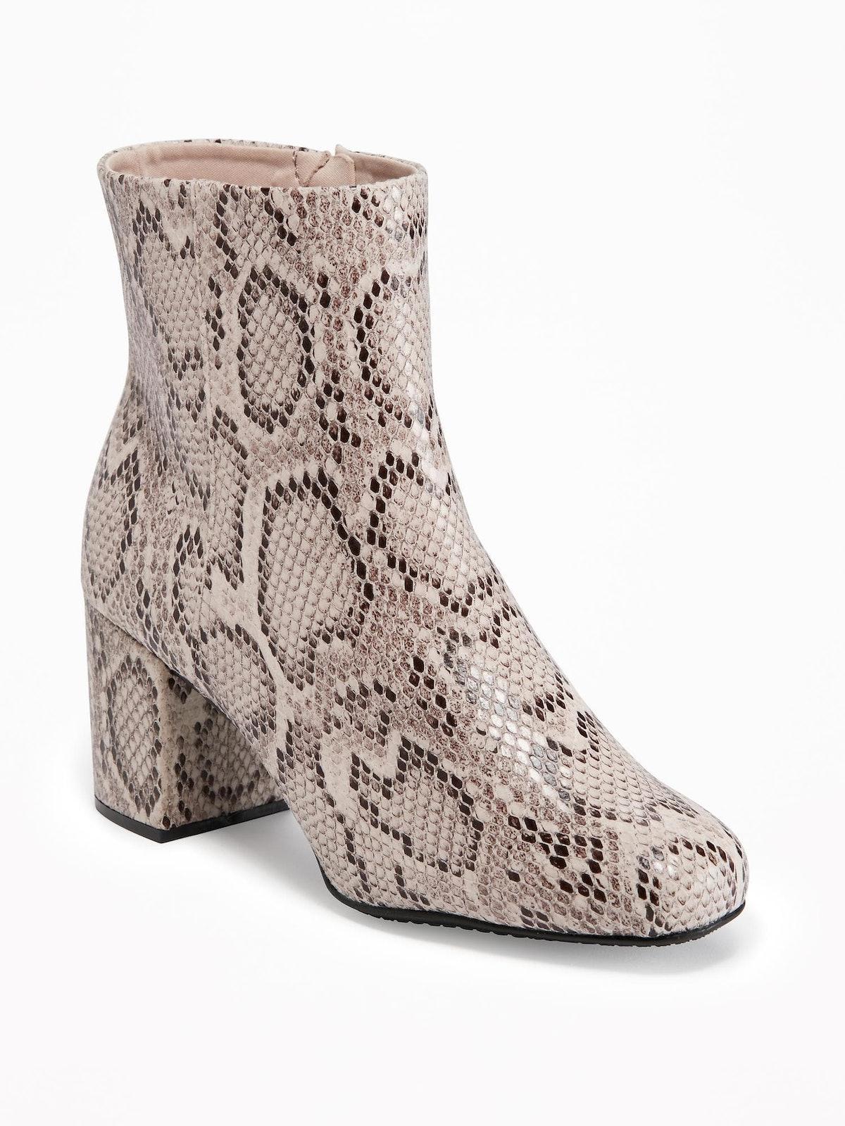 Snakeskin-Print Ankle Boots for Women