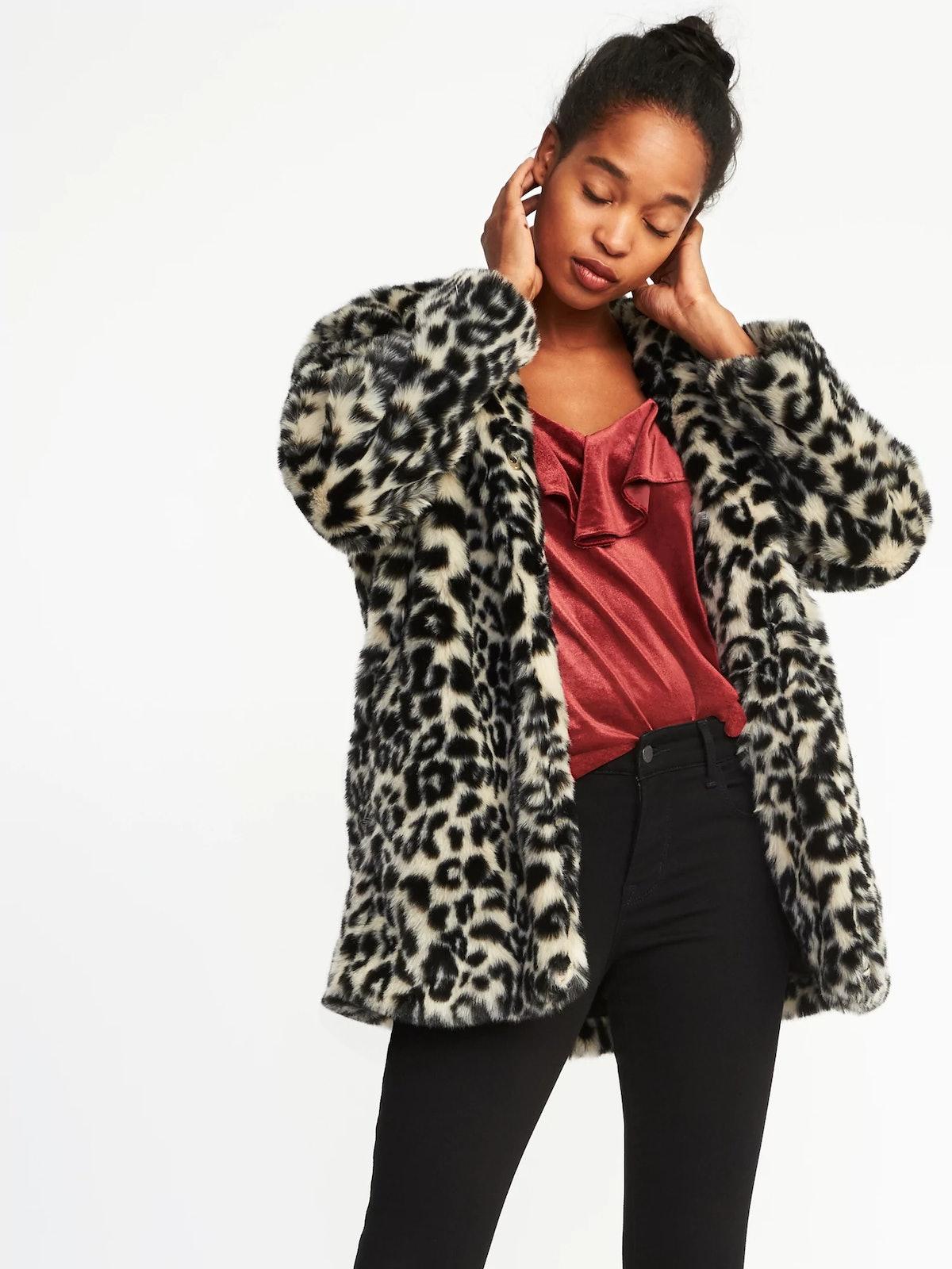 Collarless Faux-Fur Coat for Women