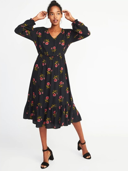 Floral Cinched-Waist Crepe Dress for Women