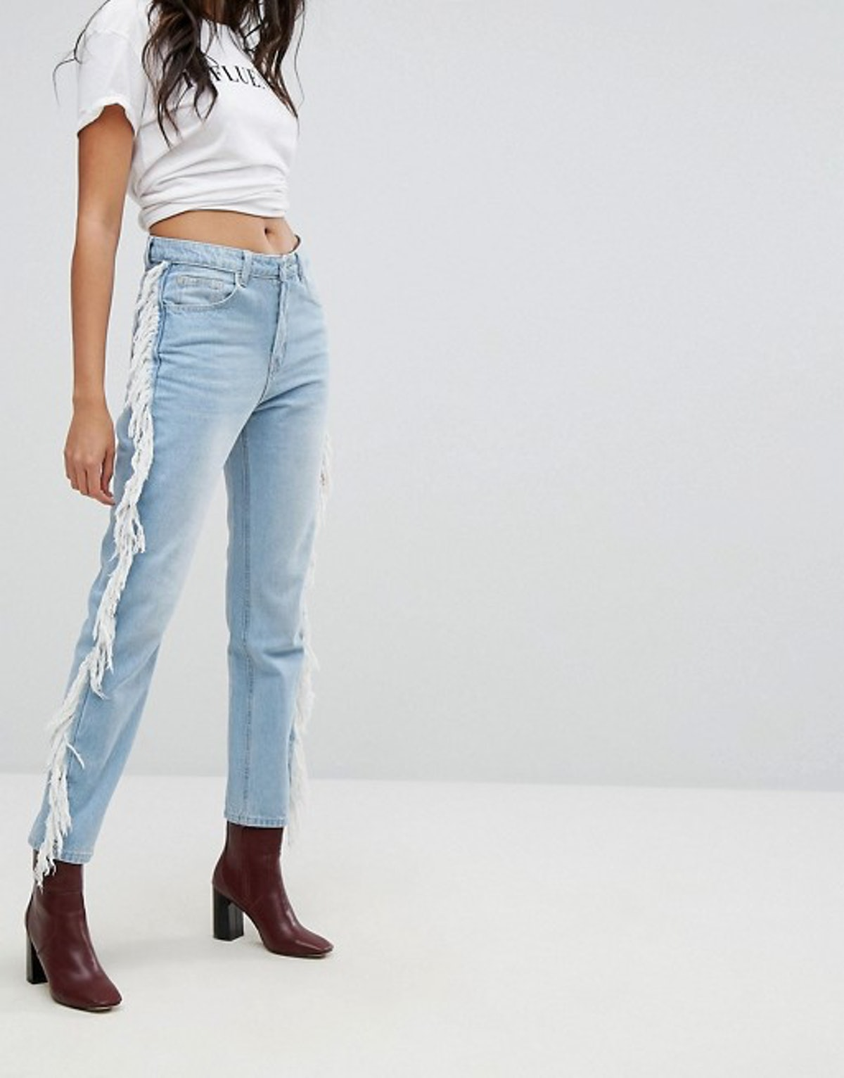PrettyLittleThing Fray Side Jeans