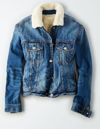 Faux-Sherpa-Lined Denim Jacket