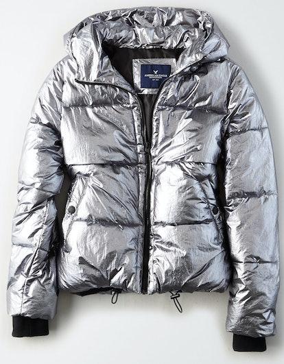 Metallic Boxy Puffer Jacket