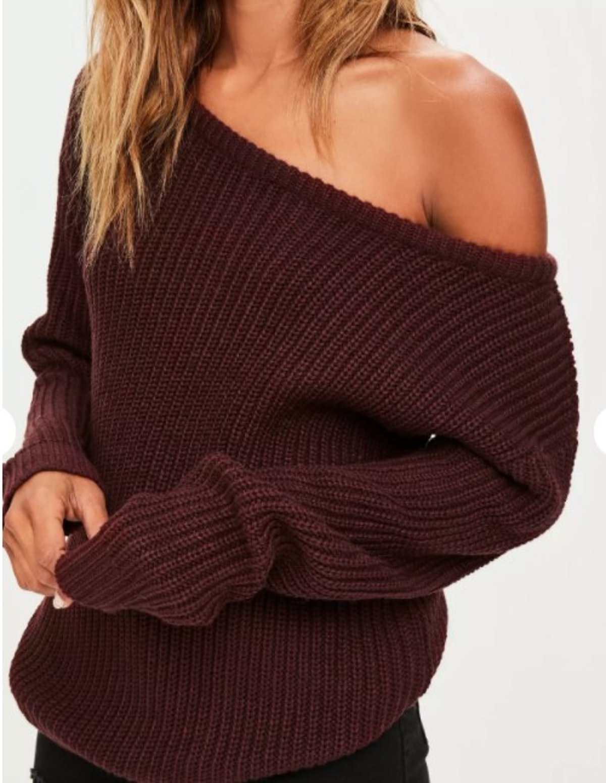 Burgundy Off Shoulder Knitted Sweater