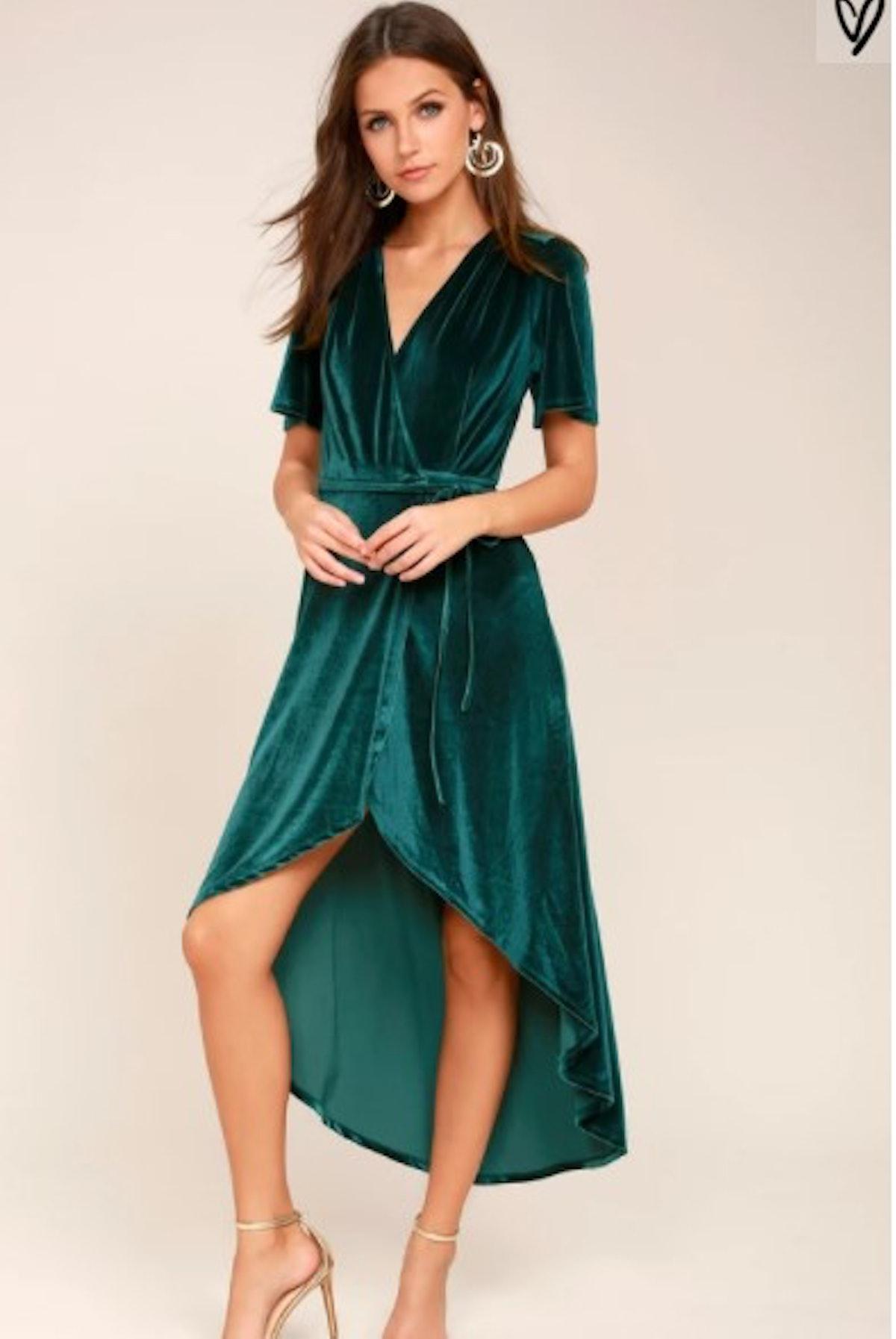 Amour Teal Green Velvet High-Low Wrap Dress