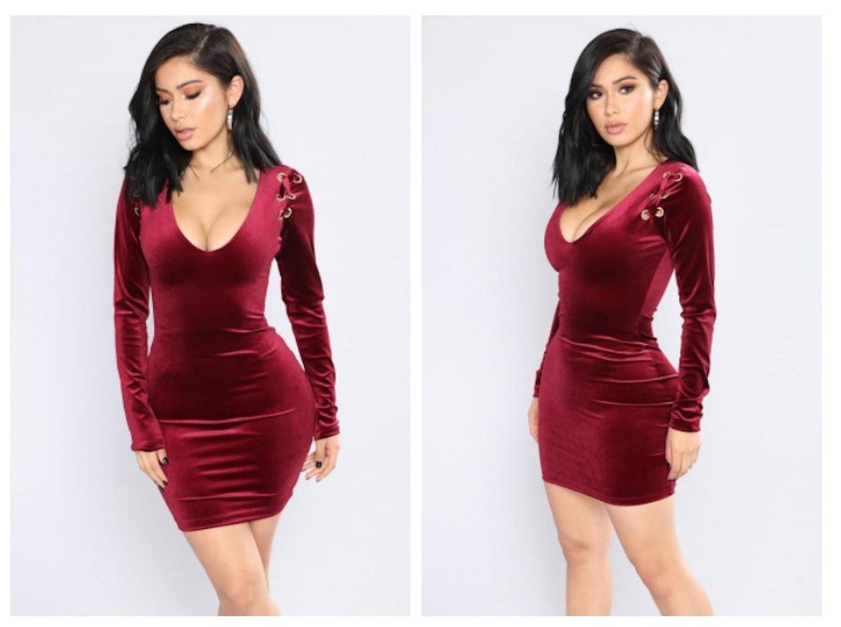 Filled With Beauty Velvet Dress - Burgundy