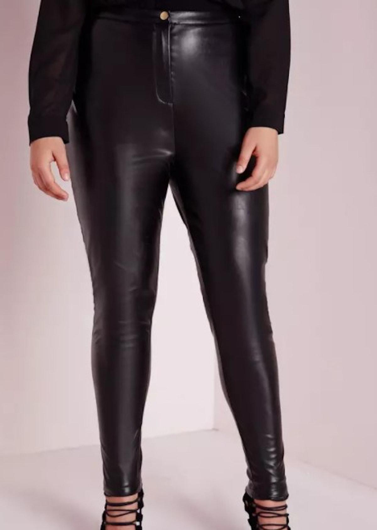Plus Size Faux Leather Pants - Black