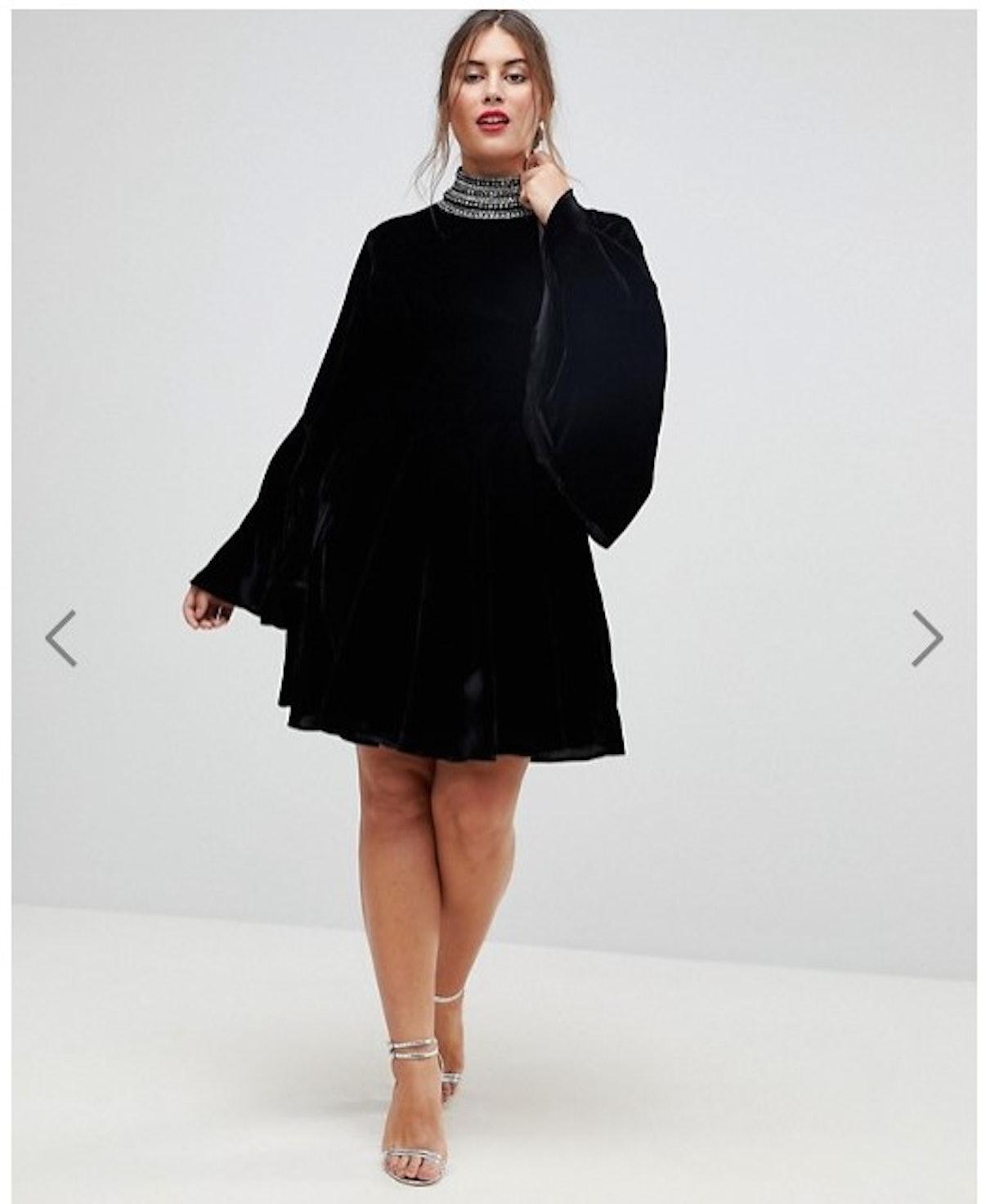 ASOS CURVE Velvet Skater with Embellished High Neck Mini Dress