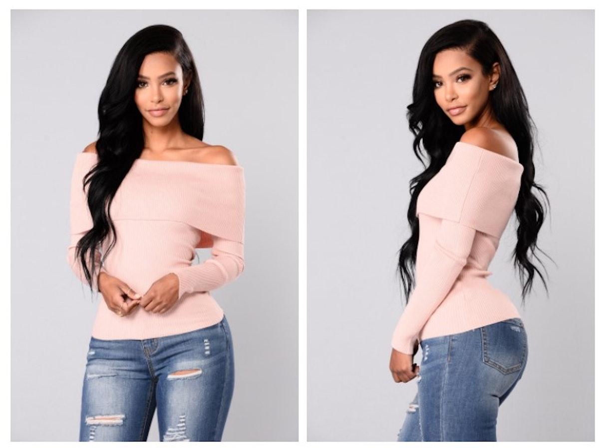 Dena Off Shoulder Sweater Top - Rose