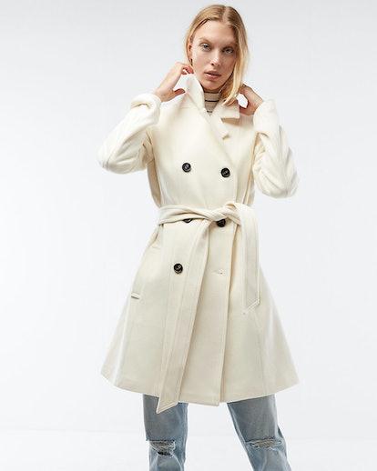 Premium Wool Blend Belted Peacoat
