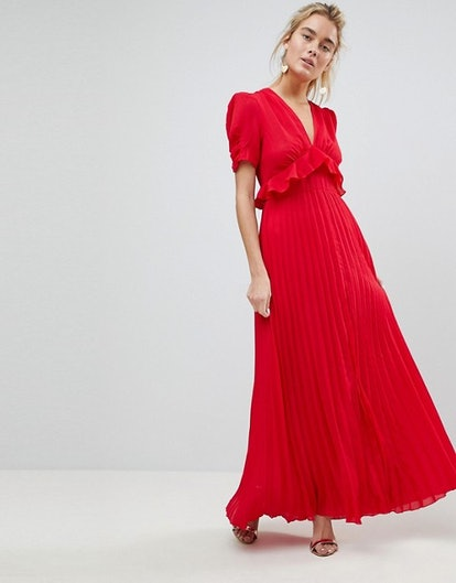 ASOS Pleated Maxi Ruffle Dress