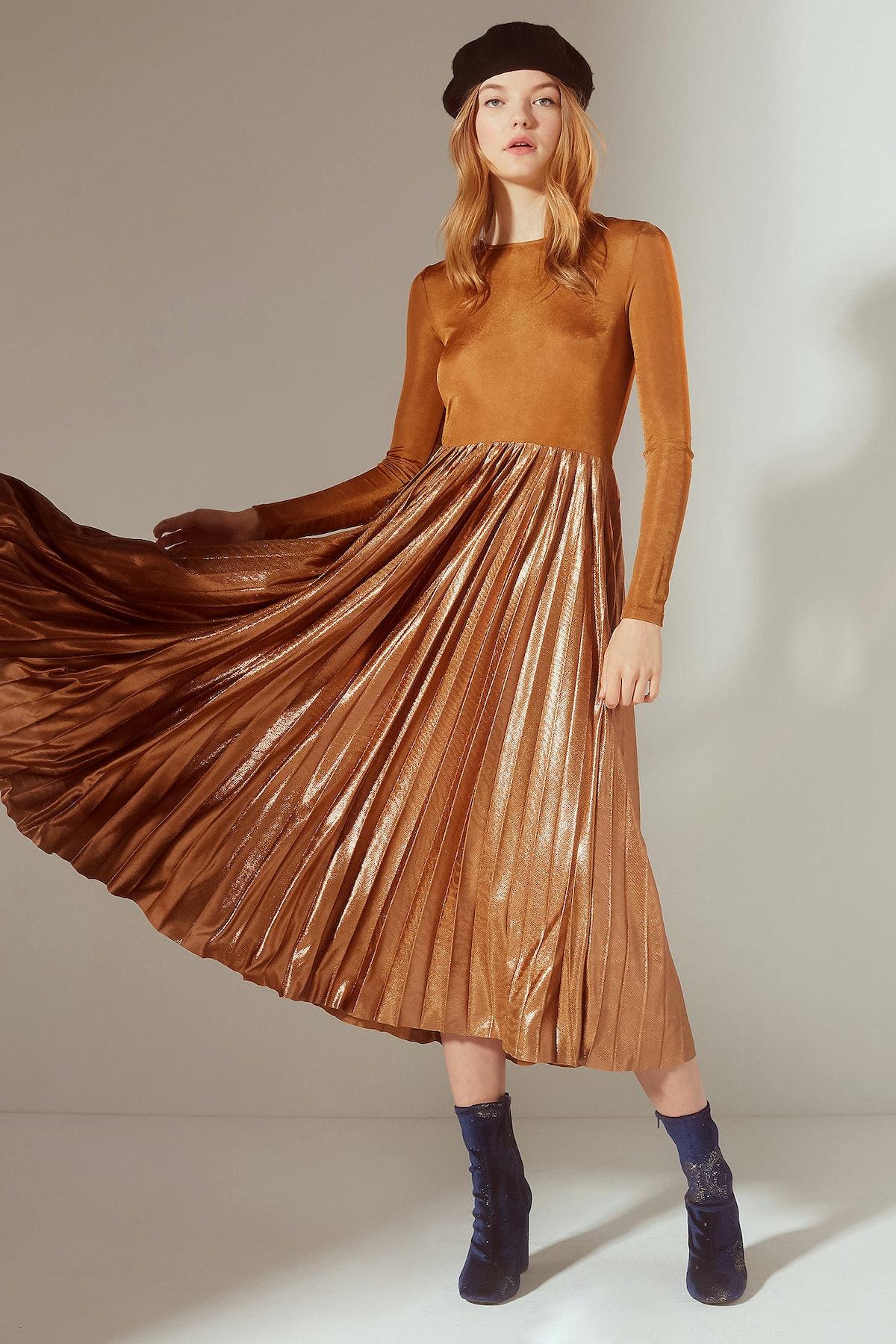 UO Gold Rush Pleated Metallic Midi Dress