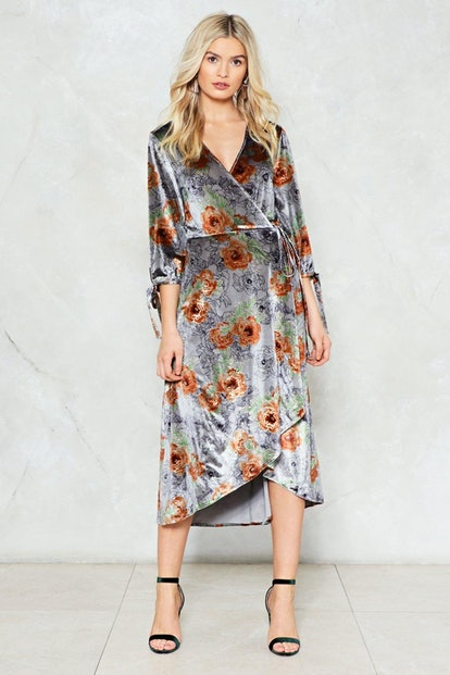 Love like Ghosts Velvet Wrap Dress