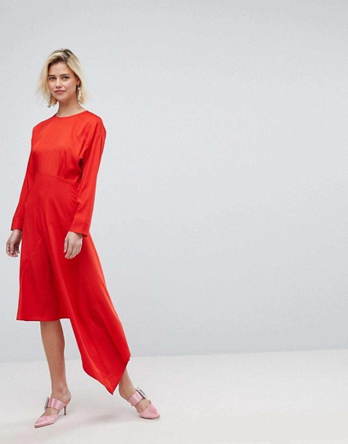 Warehouse Asymmetric Hem Midi Dress