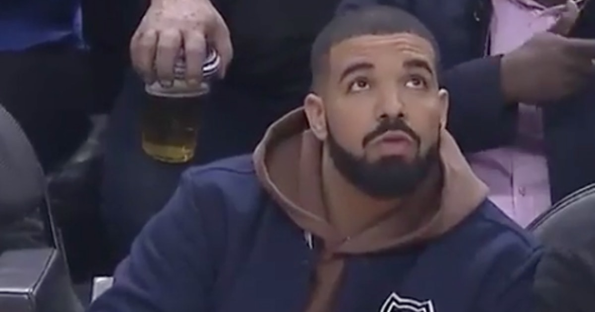 These Memes About Drake Pouring A Drink At The Raptors Game Are Hilarious