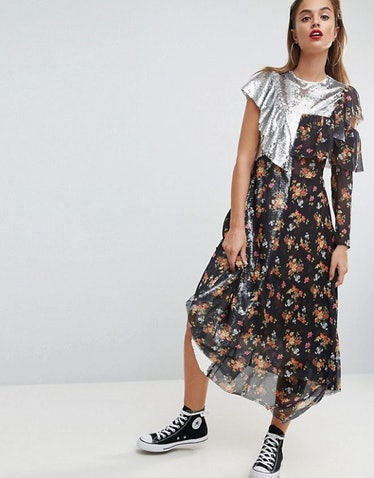 ASOS Sequin Mix Ditsy Raw Edge Print Midi Tea Dress