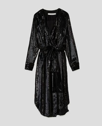 Shimmery Jacquard Crossover Dress