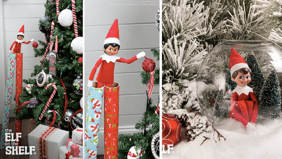 9 elf on the shelf ideas using christmas decorations cause theyre festive easy - Christmas Shelf Decorations