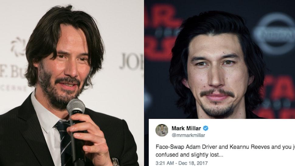 This Adam Driver & Keanu Reeves Face Swap Meme Is Turning