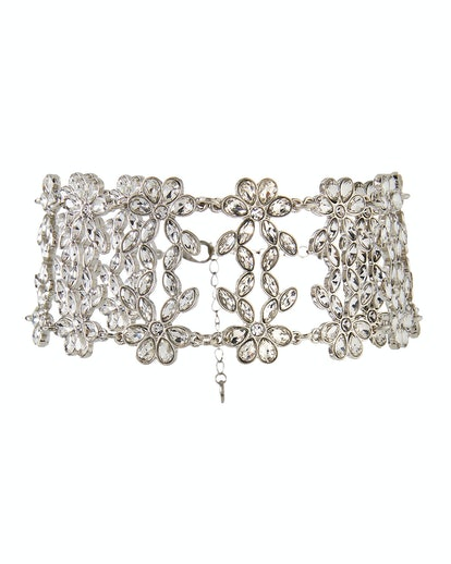 Lydell NYC Wide Cubic Zirconia Flower Choker