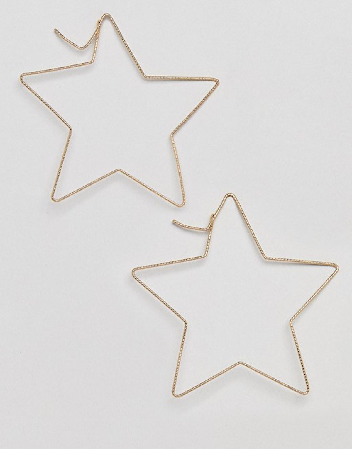 Liars & Lovers Oversized Diamond Cut Star Hoop Earrings