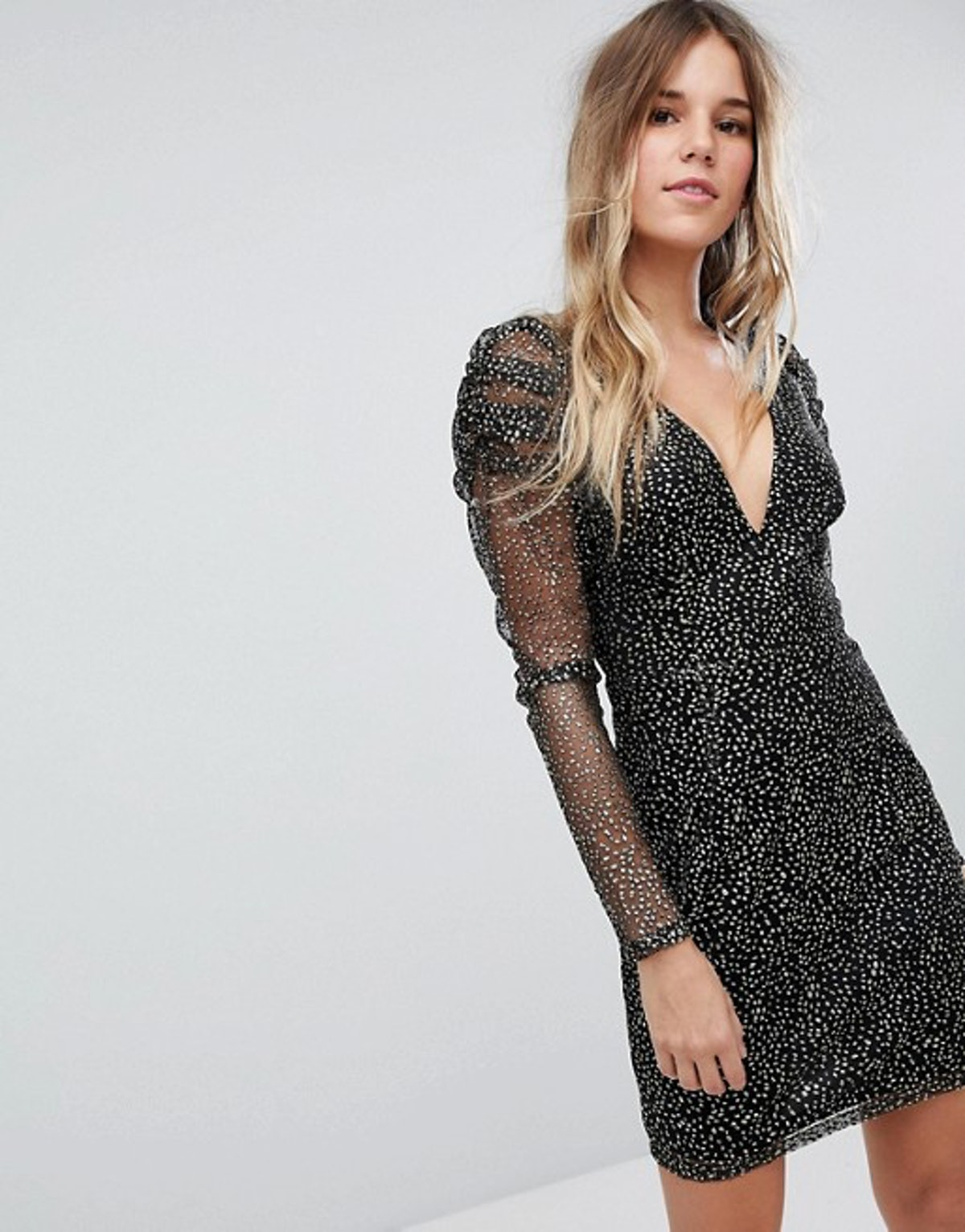 Boohoo Mesh And Sparkle Plunge Neck Dress