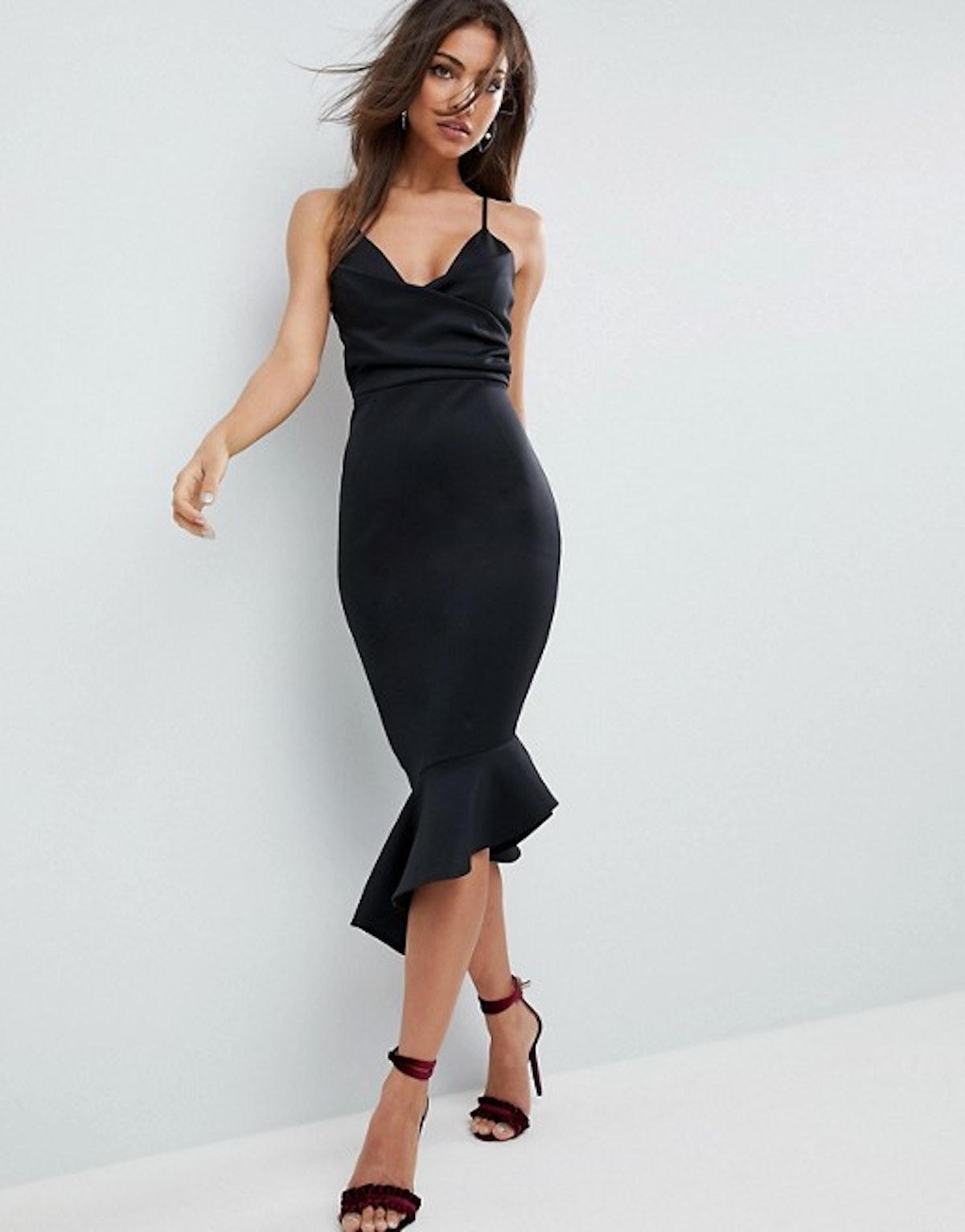 ASOS Scuba Cami Pephem Midi Dress
