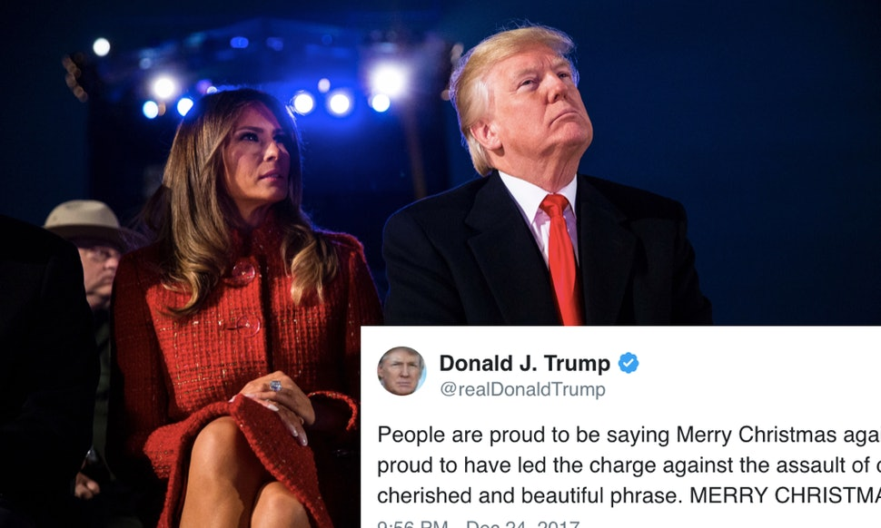 trump brags about bringing merry christmas back twitter had a lot of feelings