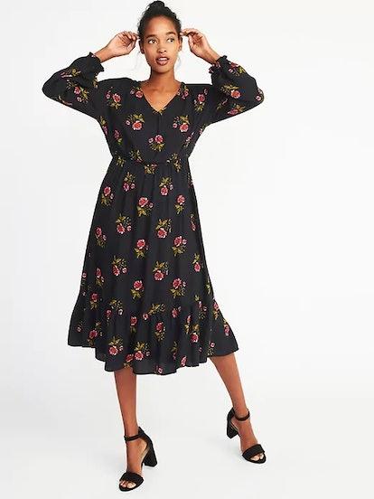 Floral Cinched-Waist Crepe Dress